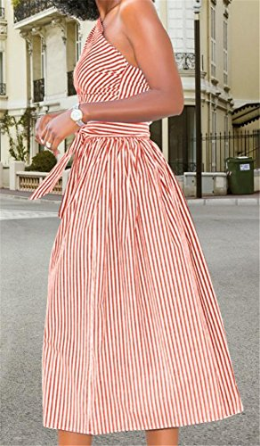 Cromoncent Casual Pleated One Striped Pocket Women's Swing Shoulder Belt Dress Red TgTqxPRw