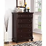 Roundhill Furniture Brishland 5 Drawers Bedroom Chest, Rustic Cherry