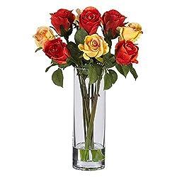 Nearly Natural Roses Silk Flower Arrangement