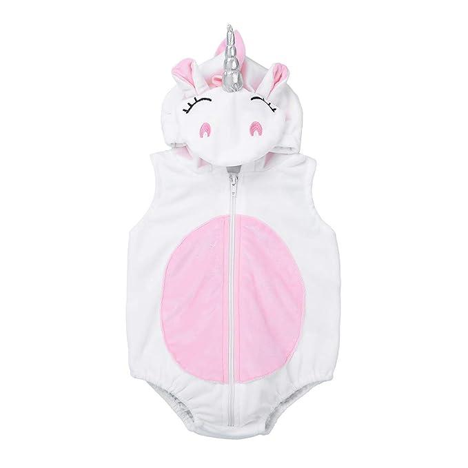 dPois Unicornio Mameluco con Capucha Pelele de Franela Bebé Niño Niña Unisex Traje de Animal Disfraces