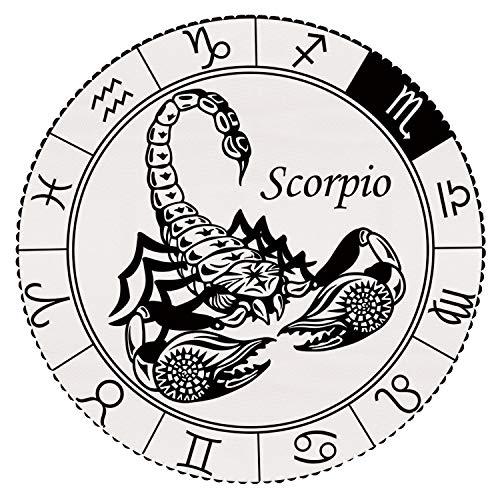 Unique Round Tablecloth [ Zodiac Decor,Astrology Element Scorpio Ecliptic Path of Sun Across Celestial Sphere Print,Black White ] Fabric Home Tablecloth Design