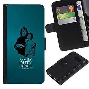 NEECELL GIFT forCITY // Billetera de cuero Caso Cubierta de protección Carcasa / Leather Wallet Case for Samsung Galaxy S6 // Familia - Deber - Honor - Skywalke