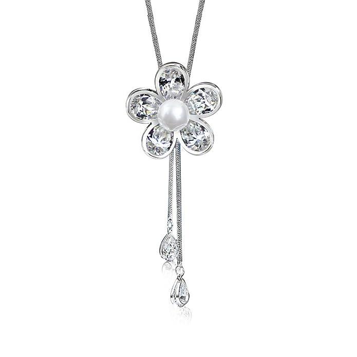 Merdia - Joya de mujer con forma de flor, imitación de Cristal y con perla, collar con colgante largo: Amazon.es: Joyería