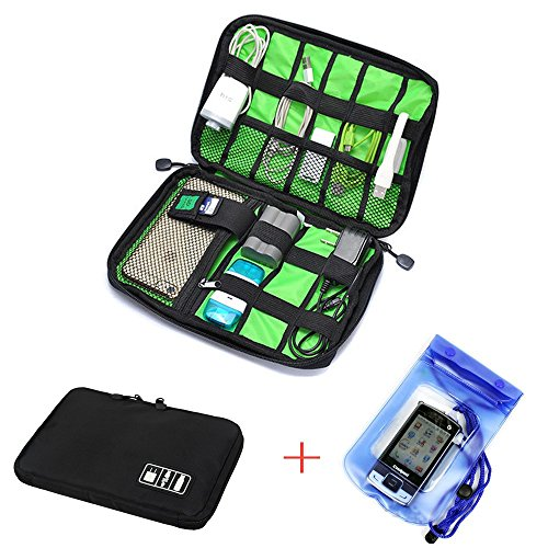 Waterproof Cable Organizer Hard Drive Case Bag Travel Storage Bag for Electronics Cables Accessories Hard Drive Case with Free 2pcs Plastic Phone Waterproof Case