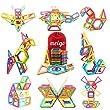 MEIGO Magnetic Blocks - Kids Magnetic Tiles Set 3D Magnetic Building Blocks Construction Playboards Boys Girls STEM Educational Magnet Toys for Toddlers (51pcs)