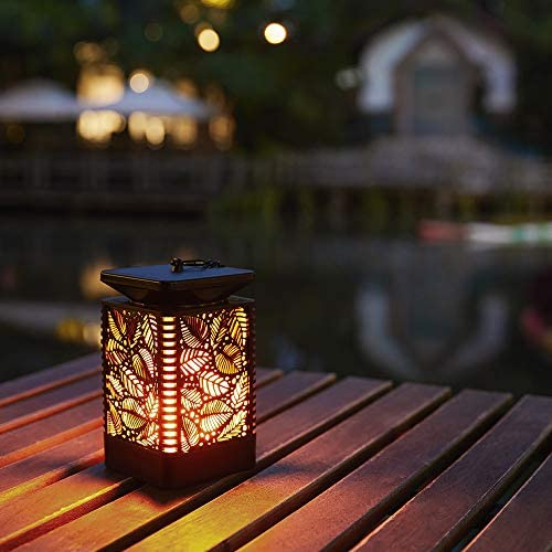 Walensee Solar Lantern Lights Dancing Flame Waterproof Outdoor Hanging Lanterns Solar Powered Umbrella LED Night Light Dusk to Dawn Auto On Off Landscape Decorative