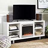 Walker Edison Furniture Company Modern Wood and Metal Fireplace Stand for TV's up to 64