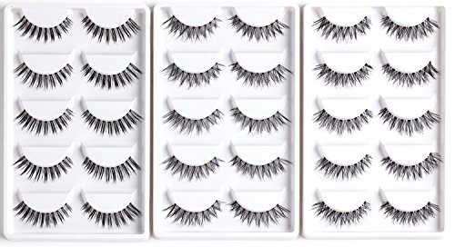 AJOY R-15P, Multipack Reusable Natural Demi Wispies False Eyelashes,  Invisible Band Bulk Strip Lashes, Winged Corner Length, Mesh Cross and  Regular 3