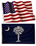 Cheap 5×8 Embroidered American Flag & 5×8 South Carolina Flag American Made Nylon