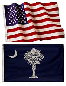 3x5 Embroidered American Flag & 3x5 South Carolina Flag Made in the U.S.A. 2-Ply Spun Poly Wind Resistant