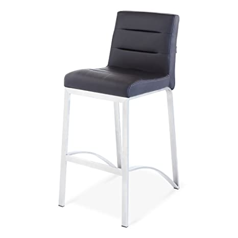 new arrival 2d934 702e4 Zuri Furniture Lynx Counter Height Contemporary Bar Stool with Metal Base -  Black