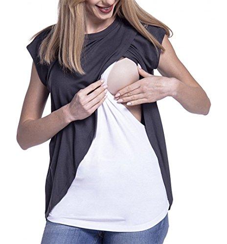 HOOMOLO Donna t-Shirt Giuntura Nursing Girocollo Manica Corta Maglietta Breastfeeding Top Infermieristica Camicetta L'Allattamento Elegante T Shirt Grigio