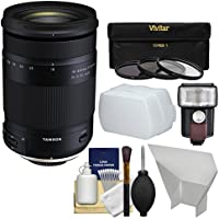 Tamron 18-400mm f/3.5-6.3 Di II VC HLD Zoom Lens with 3 Filters + Flash + Diffuser + Reflector Kit for Nikon DSLR Cameras