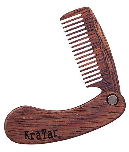 Wooden Beard Comb for Men: Folding, Antistatic, Pocket Size | Natural Merbau, Perfect for Use With Balms and Oils | Brush for Grooming & Combing Hair, Beards and Mustaches (Deep Brown) by KraTar