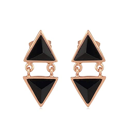 fb7ec8ad547 Image Unavailable. Image not available for. Color: Pyramid Cut Black Onyx  Gemstone Stud Rose Gold Plated Brass Fashion Earring