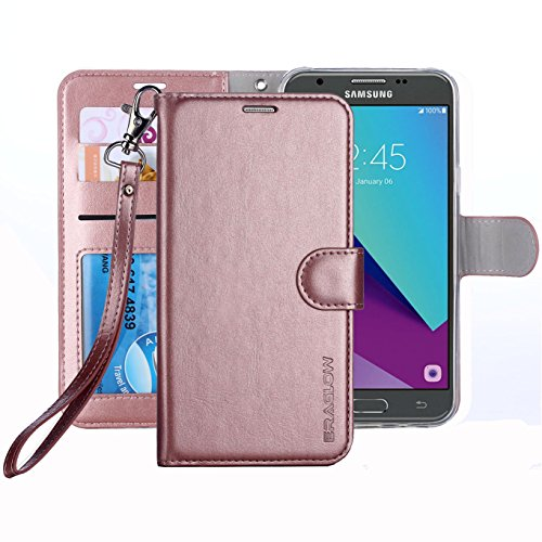 ERAGLOW Galaxy J3 Emerge Case / J3 Prime / J3 Eclipse/Sol 2 / Amp Prime 2 Case, PU Leather Wallet Flip Protective Cover with Card Slots & Kickstand for Samsung Galaxy J3 2017 (Rose Gold)