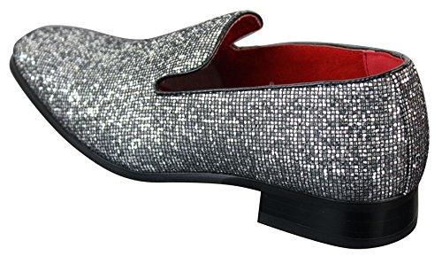 Sans Cuir Lacets Chaussures Brillant Habillé Soirée Paillettes Argenté Verni Doré Homme Argenté qR0Zwd0rAx