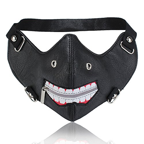 GelConnie Punk Leather Mask Motorcycle Biker Half Face Cosplay Mask Wind Protective Anti-Dust Outdoor Sports Mask for Halloween Party Props]()