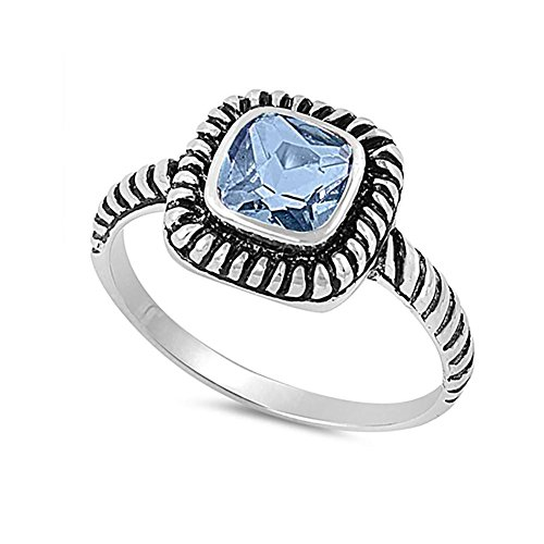 Sterling Silver Cable Ring (Bezel Solitaire Twisted Cable Oxidized Design Fashion Ring Princess Cut Simulated Aquamarine 925 Sterling Silver)