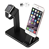 Apple Watch Charger Stand, Aisni iPhone Dock,Aluminum Charging Dock Holder Station for Apple iWatch Series 2/Series 1 and iPhone 8/7/7 plus/6s/6s plus/6/6 plus/SE/5S/5 iPad MINI,Black