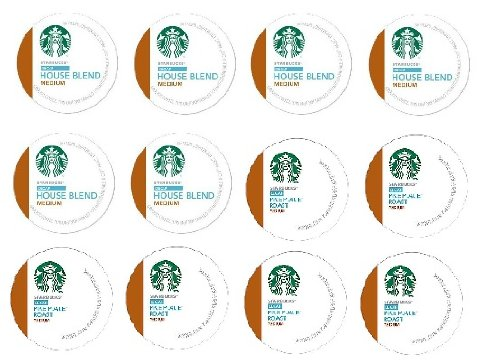 12 Count- Starbucks Decaf House Blend & Decaf Pike Place Roast Coffee K-Cups For Keurig K Cup Brewer