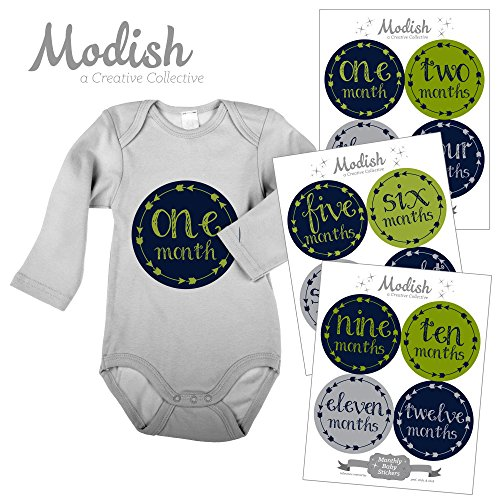 Creative Gifts Lime Green (12 Monthly Baby Stickers, Navy Blue, Green, Arrows, Tribal, Baby Month Stickers Boy, Baby Shower Gift, Baby Book Keepsake)