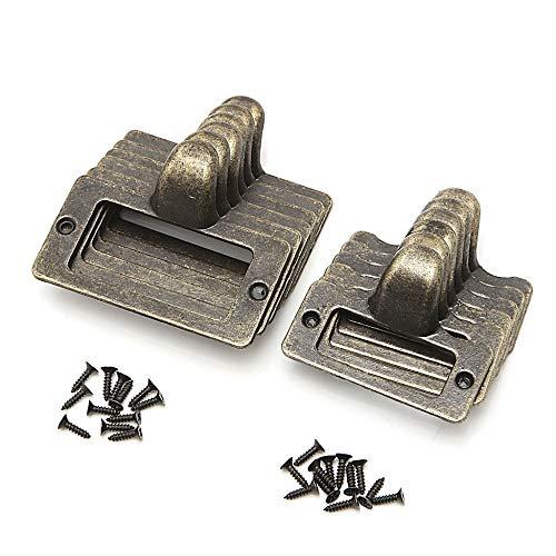 (6x Handle File Name Card Cabinet Label Holder Antique Brass Drawer Pull Frame Furniture Hardware - (Color: Size S))