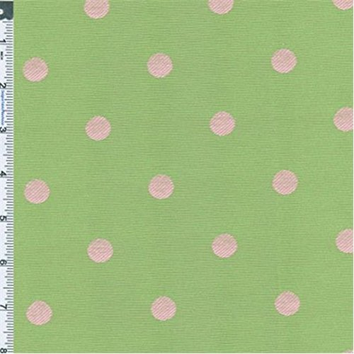 Green/Pink Polka Dot Jacquard, Fabric By the Yard