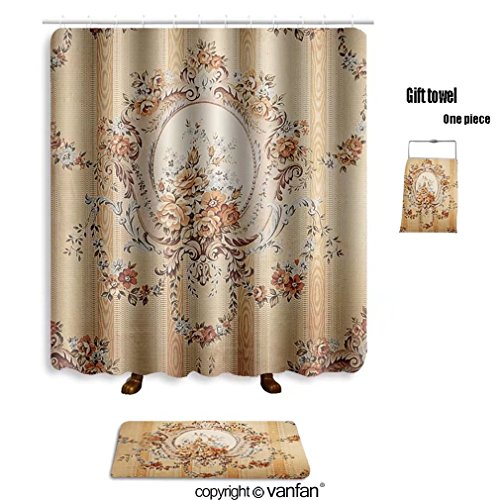 vanfan bath sets with Polyester rugs and shower curtain retro wallpaper texture 125768801 shower curtains sets bathroom 54 x 78 inches&23.6 x 15.7 inches(Free 1 towel and 12 hooks)