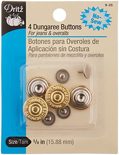 PRYM-DRITZ CORP R) No-Sew Dungaree Buttons - Gilt