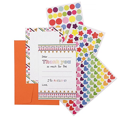 15 Fill In The Blank Thank You Notes + Envelopes + DIY Sticker Art No Mess Card Making Kit For Kids by WhizKidsLab
