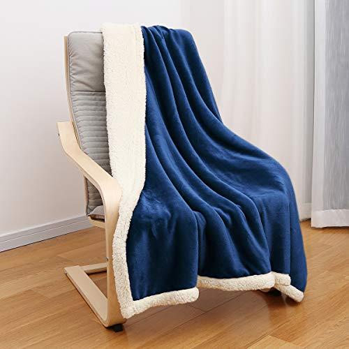 JEMA Premium Flannel Fleece Throw Blanket for Sofa Couch,Sherpa Throw Blanket,Warm Cozy Microfiber,Reversible Plush,Soft Warm Fuzzy Throw,Lightweight,All Season Use,50 x 60 Inches