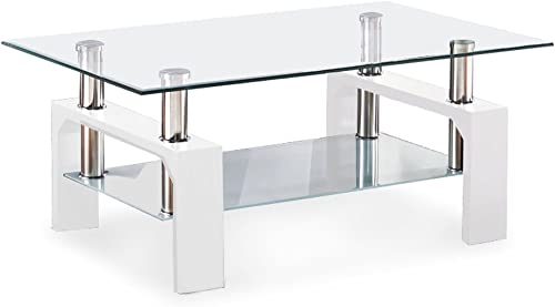 Mecor Rectangle Glass Coffee Table-White Modern Side Coffee Table