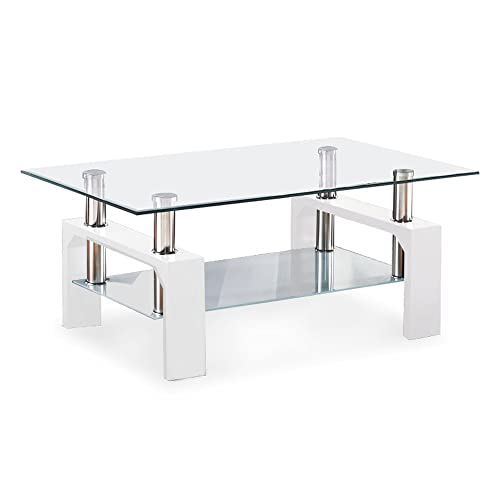 Coffee Table Layers White High Gloss Amazon Co Uk Kitchen: Mecor White Modern Rectangle Clear Glass & Chrome Living