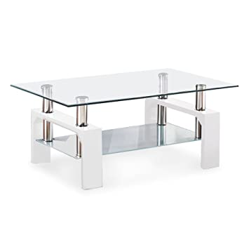 VIRREA Rectangular Glass Coffee Table Shelf Wood Living Room Furniture Chrome Base White