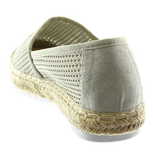 2 Corda Pastello Scarpe Perforato on Slip Grigio Piatto Espadrillas Tacco Cm Donna Angkorly Moda Flessibile pq7Rw