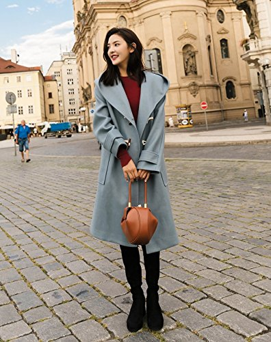 blue Collar Woolen Loose In Hooded Hair Section Coat Xuanku Thick The Her Of Long Daughter Nizi Coat 5p6acqTfw
