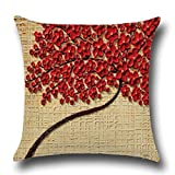 """Rise World Pillowcase 18 """" x 18 """" Square Cotton Linen Cushion Cover Pillowcase Decorative Oil Painting Black Large Tree Red Flowers"""