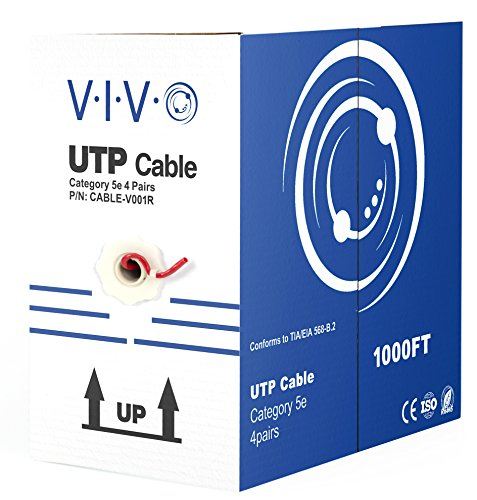 VIVO Red 1,000 ft bulk Cat5e Ethernet Cable/Wire UTP Pull Box 1,000ft Cat-5e Style (CABLE-V001R) by VIVO