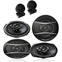Pioneer TS-A6966R 6x9 3-way car speakers + Pioneer TS-A1676R 6-1/2 3-way car speakers + TW-800 Super Dome Tweeters with 4 Mounting Options
