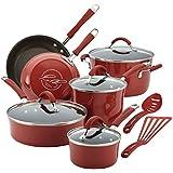 Rachael Ray Cucina Hard Porcelain Enamel Nonstick Cookware Set, 12-Piece, Cranberry Red