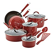 Rachael Ray Cucina Nonstick Cookware Pots and Pans Set, 12 Piece, Cranberry Red