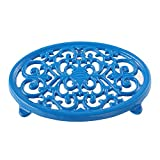 Round Cast Iron Trivet Royal Blue Trivet Mats Metal Trivets for Kitchen Dining Table Oval Shape