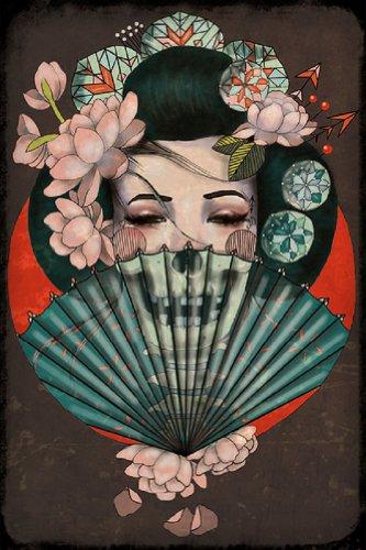 Death Becomes Her by Amy Dowell Geisha w/ Skull Fan Asian Tattoo Fine Art ()