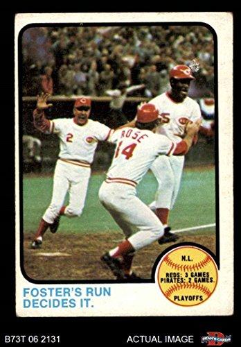 1973 Baseball (1973 Topps # 202 1972 NL Playoffs - Foster's Run Decides It George Foster / Pete Rose / Alex Grammas Cincinnati Reds (Baseball Card) Dean's Cards 3 - VG Reds)