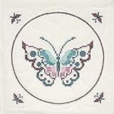 Fairway 95405 Quilt Blocks, Butterfly Design, 18 by 18-Inch, White