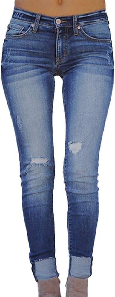 Risthy Pantalones Vaqueros Mujer Slim Fit Flaco Pantalones Largos Lapiz Vaqueros Rotos Elasticos Stretch Jeans Pantalones Vaqueros Mujer De Vestir Invierno Amazon Es Ropa Y Accesorios