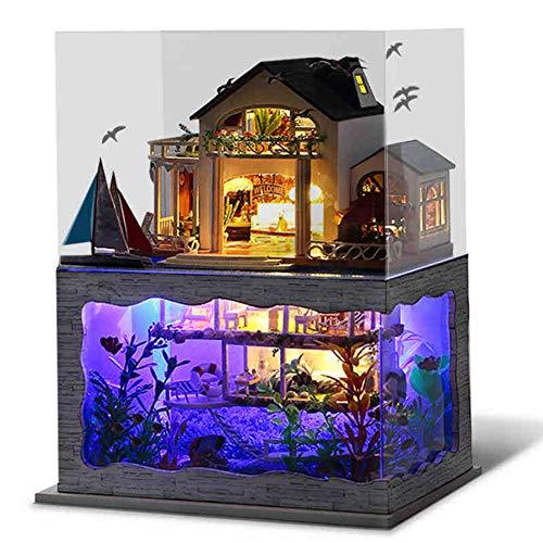 NUAIPPP Casas Madera Muñecas DIY Luces Y Accesorios Decoración Cottage Impression Hawaii Factory Hecho A Mano Casa Pequeña...