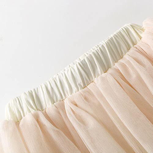 VIYOO Girls Casual 4-Layer Tulle Tutu Puff Mid-Calf Long Skirt Age 2-8 Beige Gray
