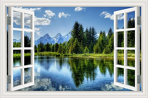 GreatHomeArt Removable Prints Poster 3D Window View Wall Decals, Nature Lake Scenery Vinyl Sticker Peel & Stick Wall Decor Stickers for Living Room Wallpaper - 24